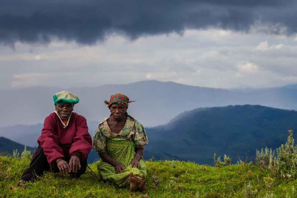 Batwa couple near Echuya Forest Reserve; photo by Marcus Westberg