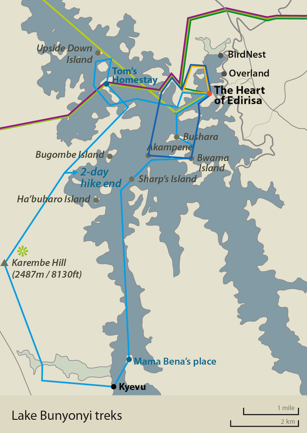 Lake Bunyonyi map with Gorilla Highlands Trails routes