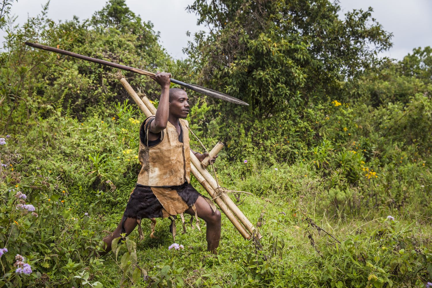 Recreation of Batwa history during the Batwa Trail in Mgahinga Gorilla National Park; photo by Marcus Westberg
