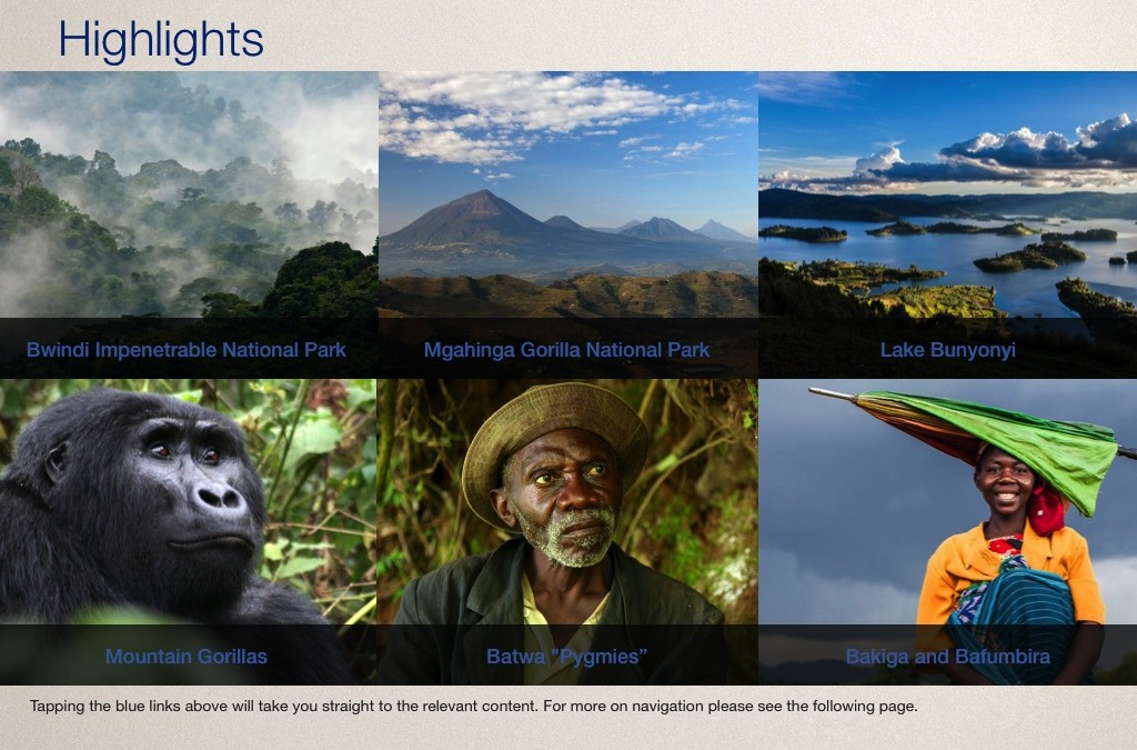 Highlights page in the Gorilla Highlands Interactive eBook