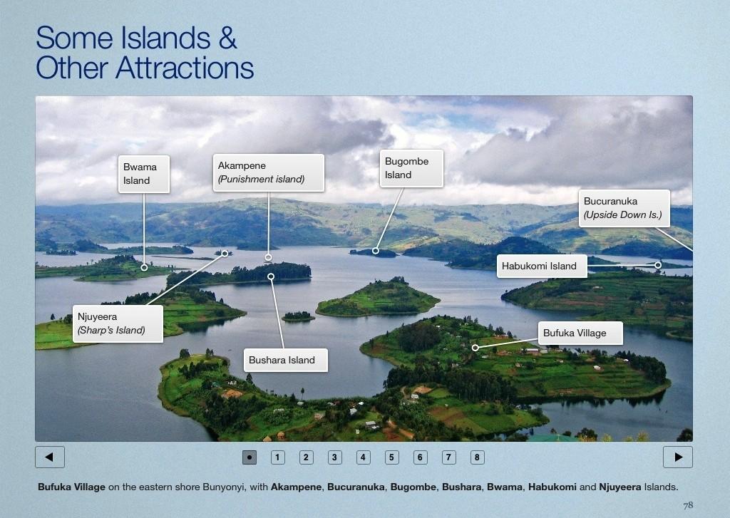 Lake Bunyonyi page in the Gorilla Highlands Interactive eBook