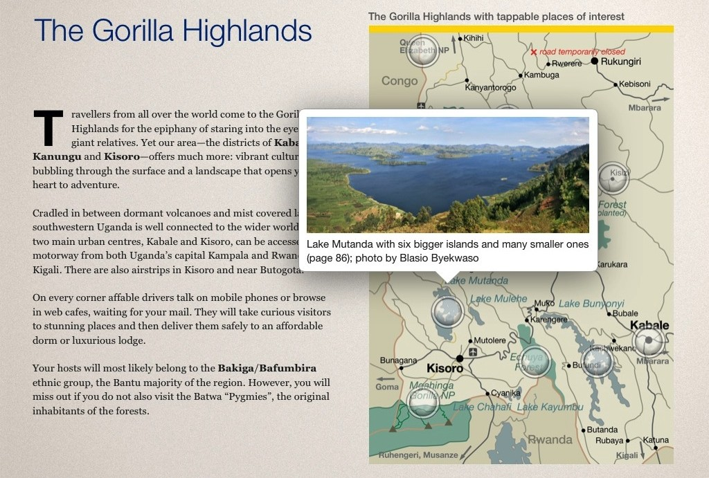 Interactive map in the Gorilla Highlands Interactive eBook