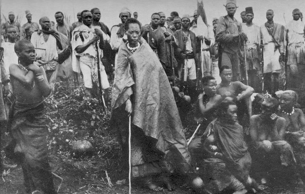 Muhumuza (in the centre), Nyabingi medium, in 1911