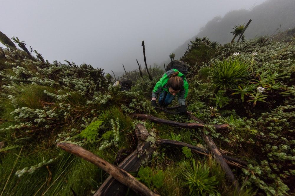 Katharina Lahner GH volunteer - Sabinyo climbing