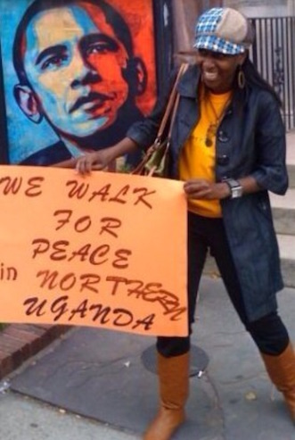 Ruth Ndyabahika campaigning