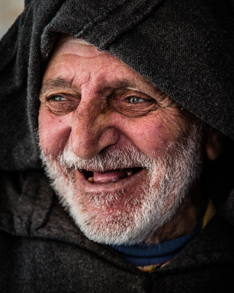 An old Moroccan man finds being photographed at such close range a fairly amusing experience; photo by Marcus Westberg