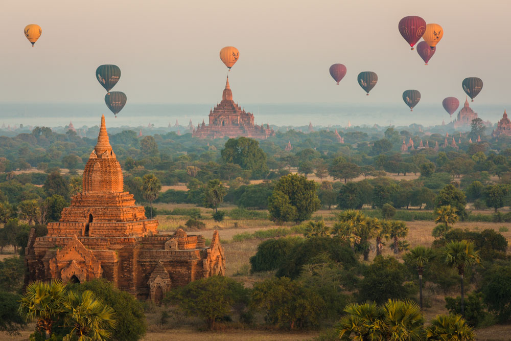 Balloons float silently above the thousands of ancient temples of Bagan, Myanmar; photo by Marcus Westberg