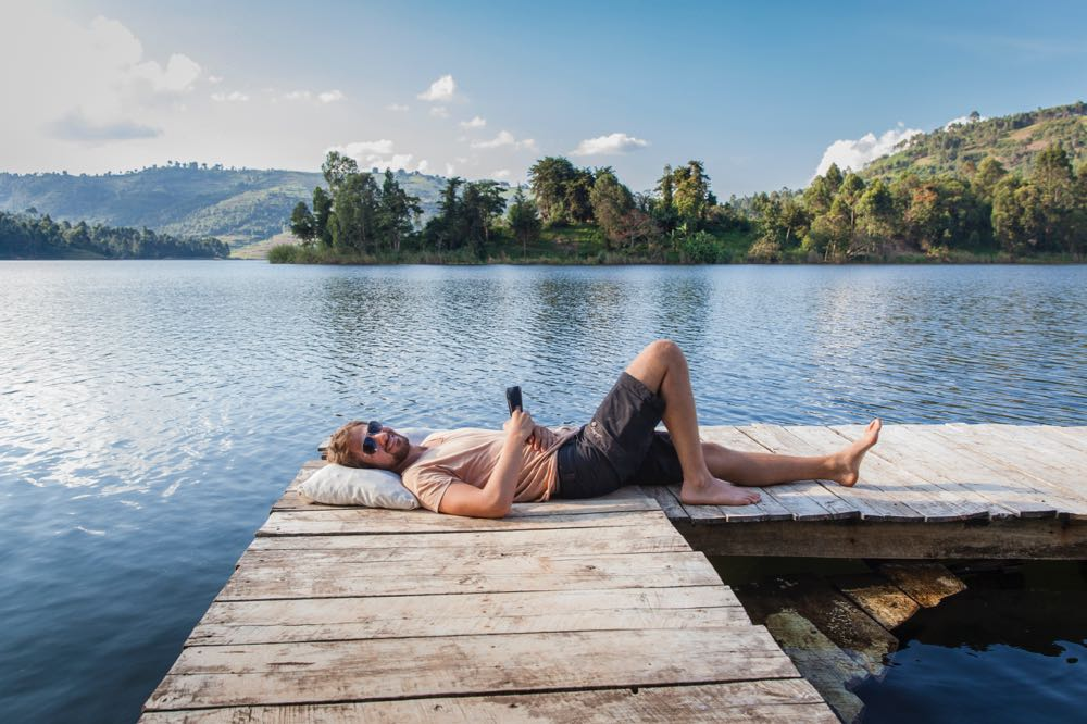 Marcus Westberg feeling at home at Lake Bunyonyi; photo by Jessica Magenwirth