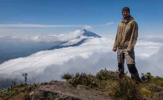 Marcus Westberg's first time on Mt Sabinyo; photo by Jessica Magenwirth