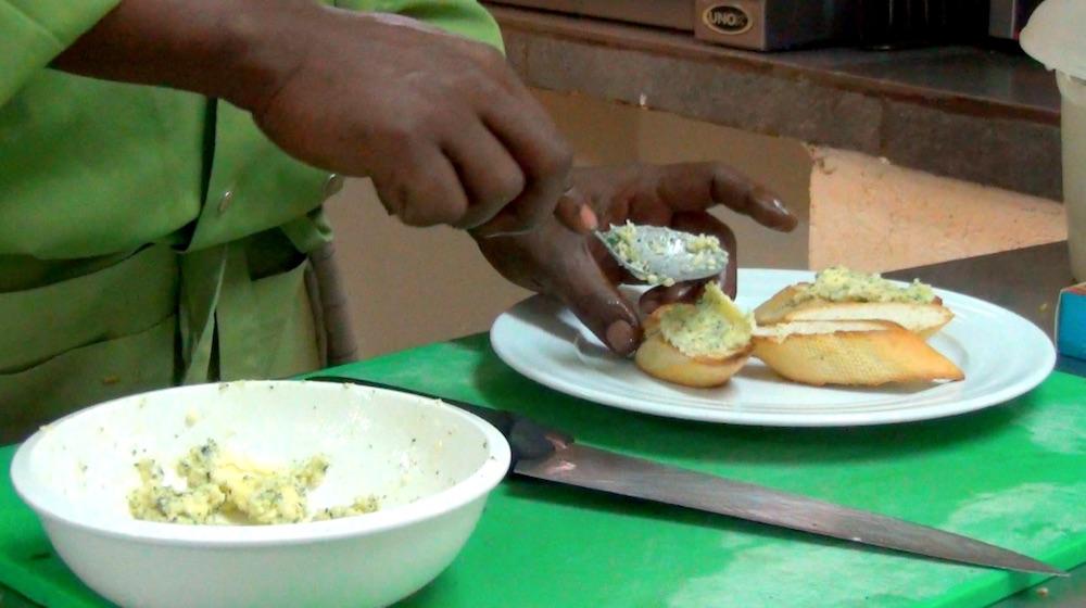Garlic baguette; video still by Hank Rugg