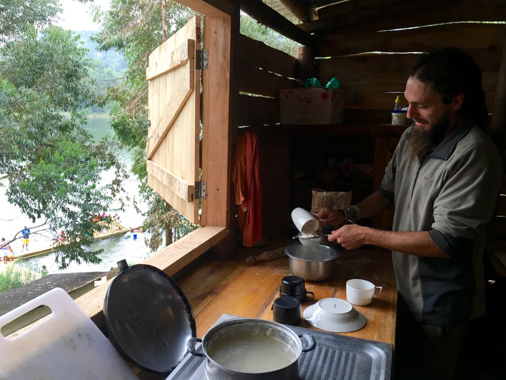 Mike Dalager was the first Gorilla Highlands volunteer to work at both places, teaching Edirisa and Red Rocks cooks; photo by Miha Logar