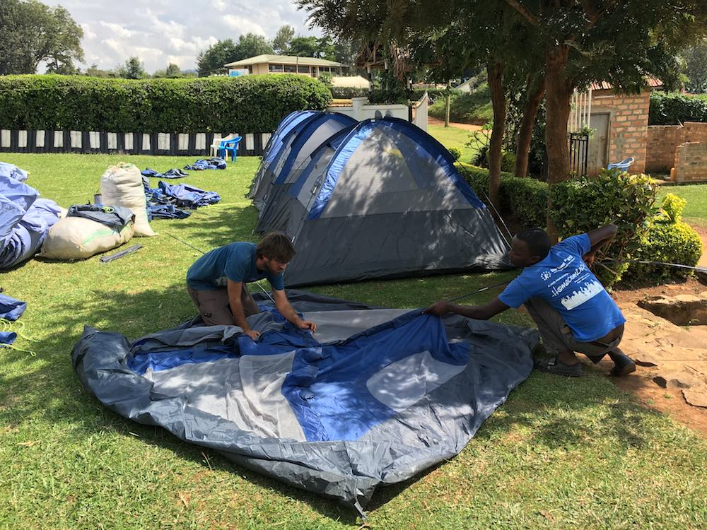 A camp of eight tents was set up