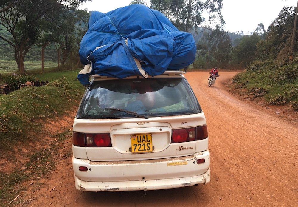 A fully loaded car departed from Lake Bunyonyi at 1pm today