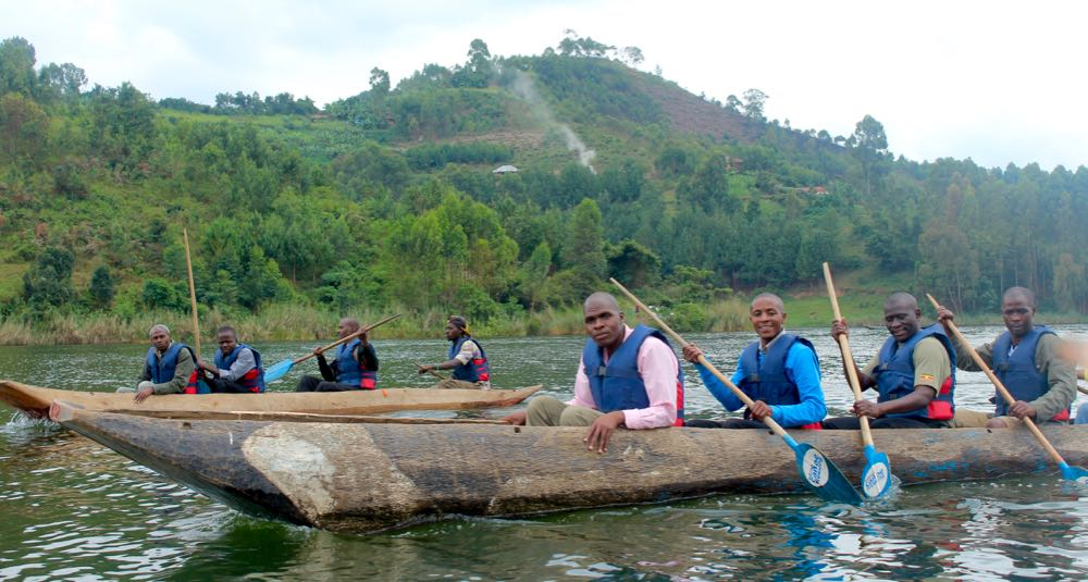 Dugout canoe trip at the end of Gorilla Highlands Silverchef 2016; photo by Abby Bluth