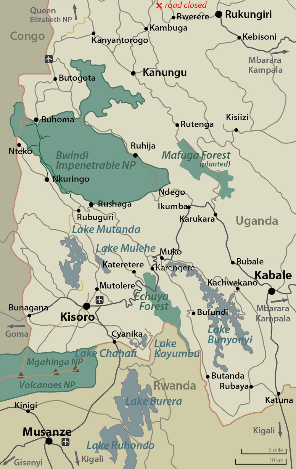 Map of the Gorilla Highlands of Rwanda and Uganda