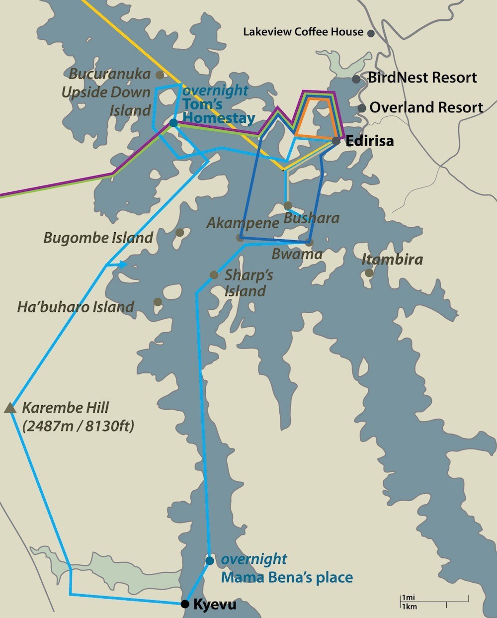Map of Lake Bunyonyi