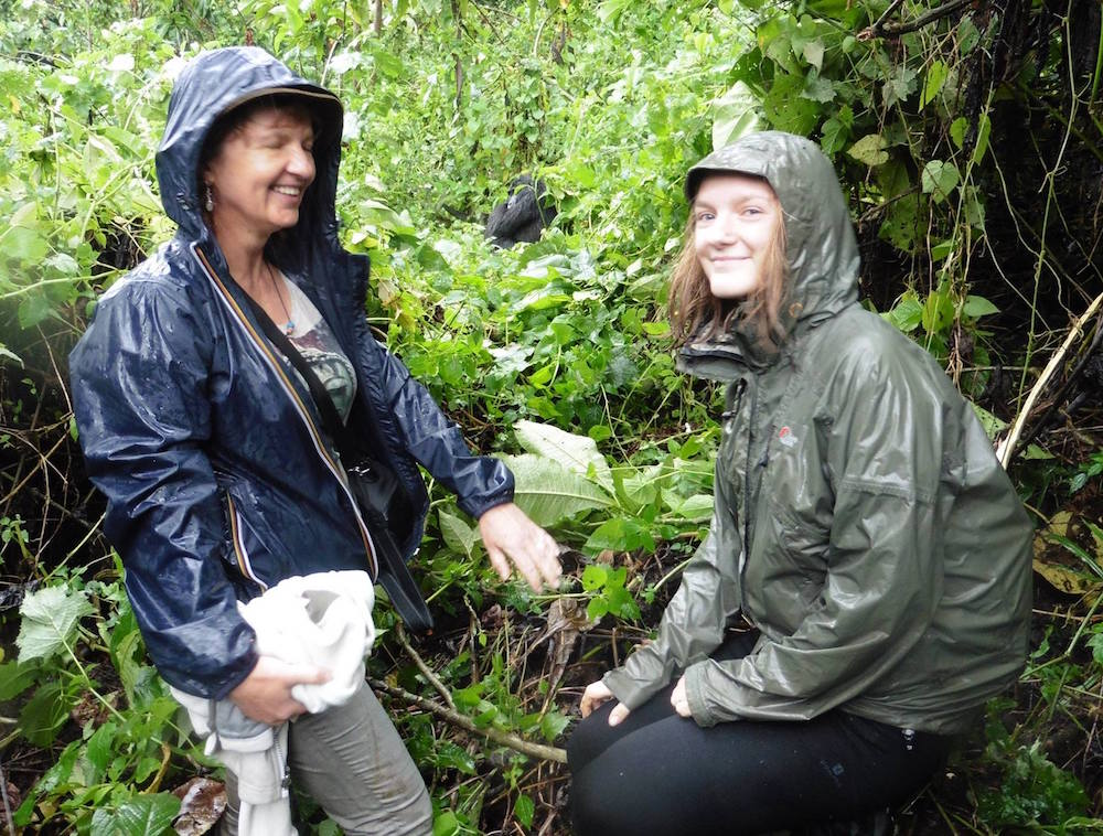 Tina and Zara tracking gorillas; photo by Grosel Davieses