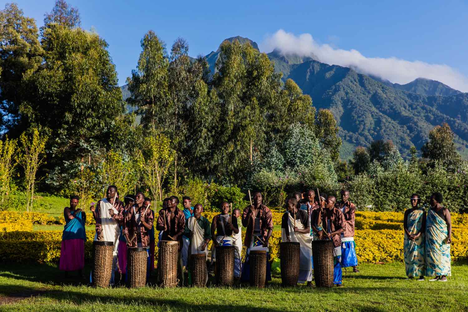 Traditional music under the rugged slopes of Mt Sabyinyo; photo by Marcus Westberg