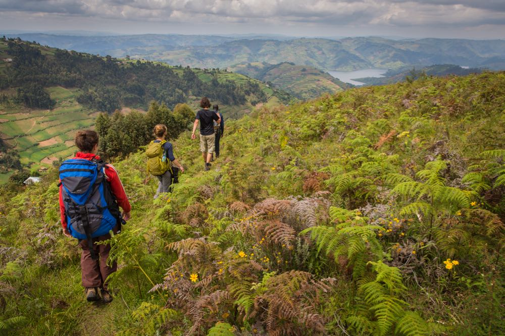 Trekkers near Lake Bunyonyi; photo by Marcus Westberg