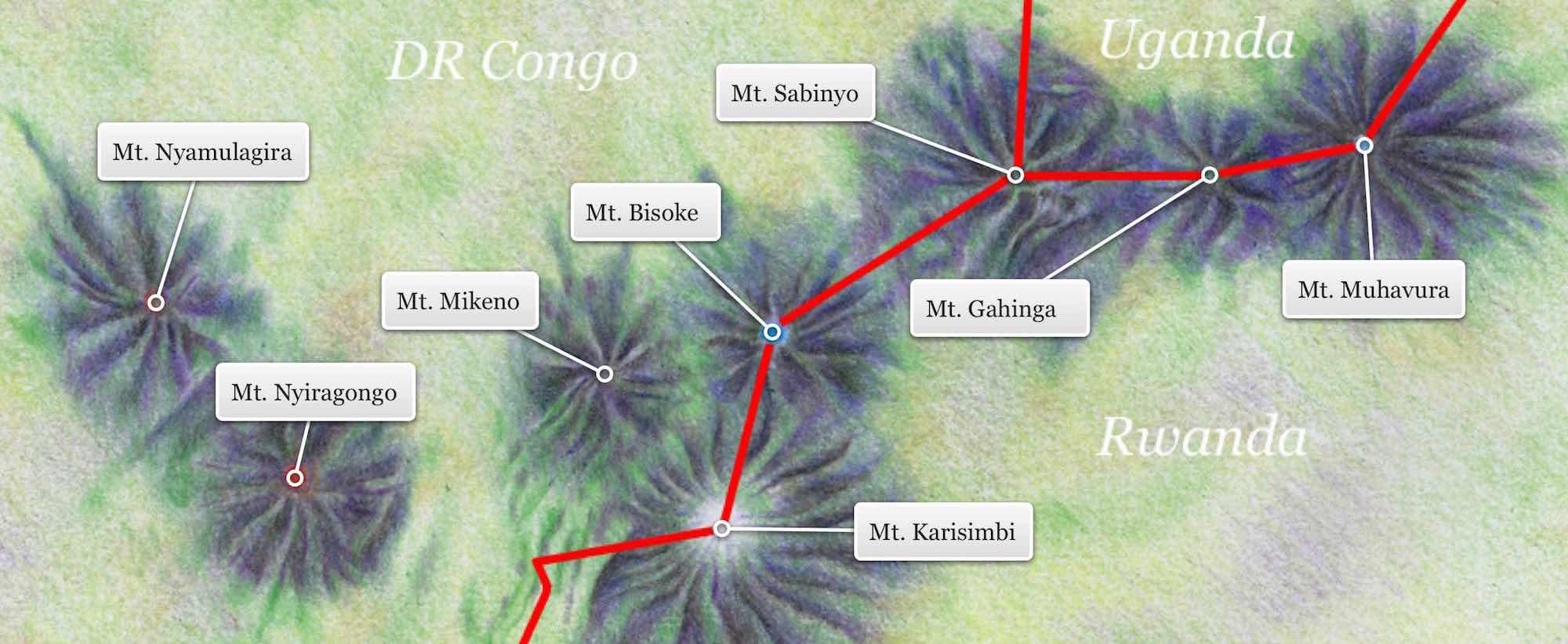 Virunga Volcanoes from the Gorilla Highlands Interactive eBook; illustration by Marcus Aijuka Depories