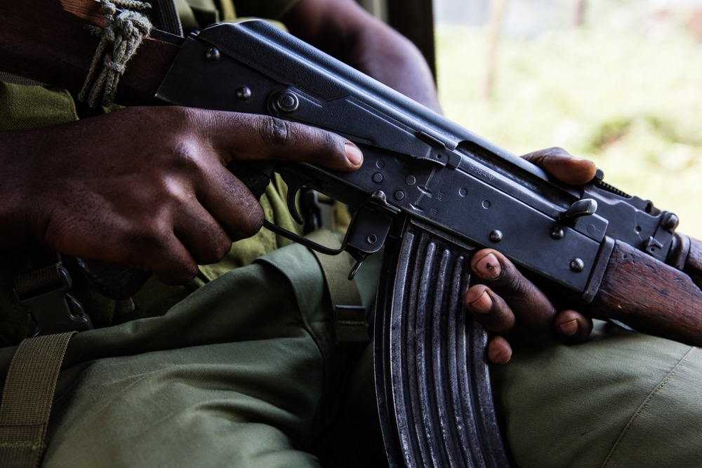 AK-47 in Virunga NP ranger's hands