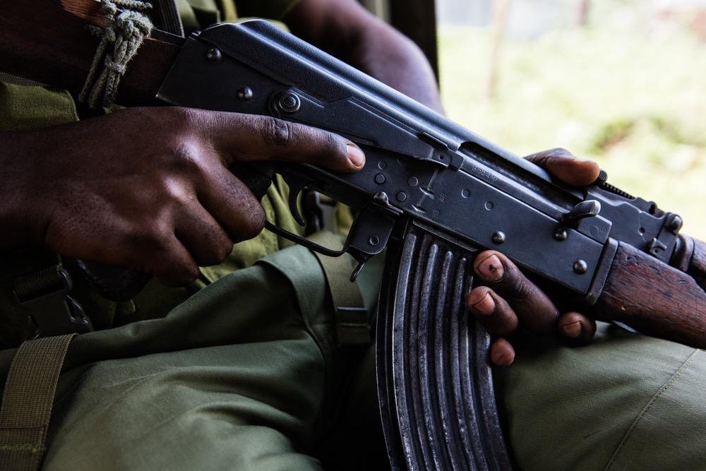 AK-47 in Virunga NP ranger's hands