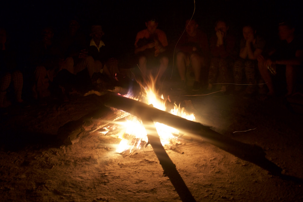 Campfire with traditional music at Tom's Homestay; photo by Mike Stacy