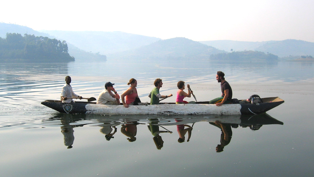 Lake Bunyonyi activities start in a dugout canoe