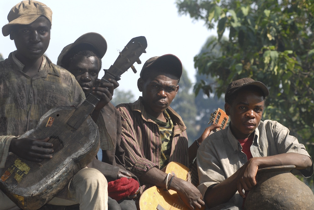 Crazy Legs, Chairman, Tiny Moses and Federo, a Batwa band from Kisoro; photo by Robert Brierley