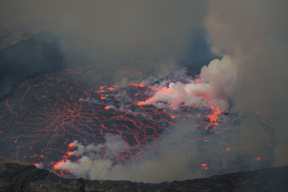 Lava lake by day