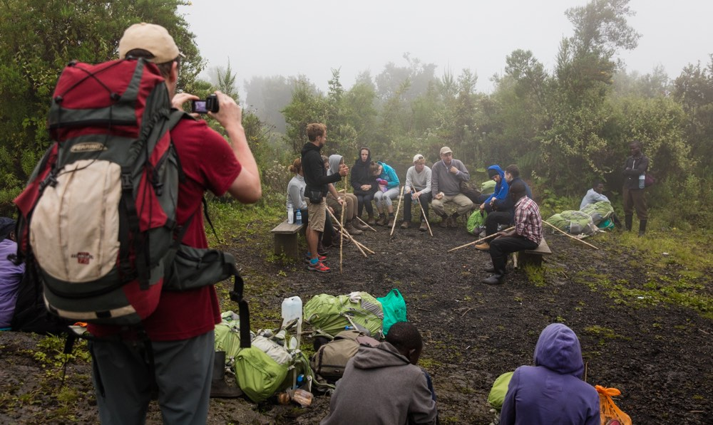 Resting during Nyiragongo hike