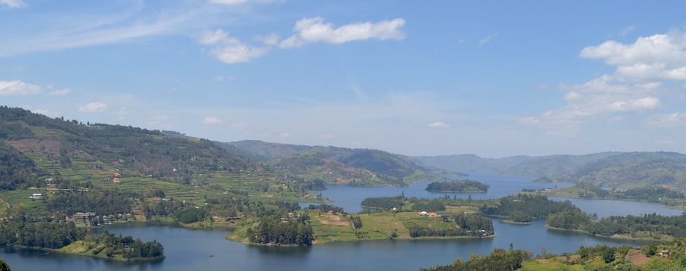 This is where we came from - Edirisa on Lake Bunyonyi in the centre; photo by Hannah Wedge