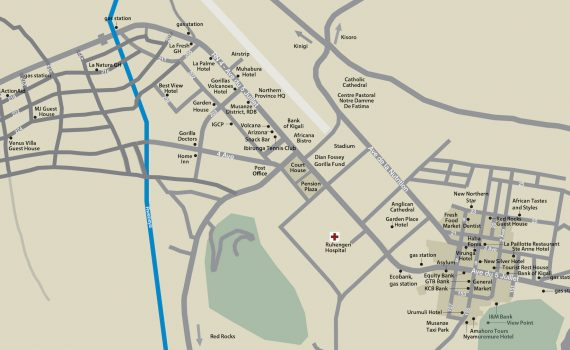 Draft map of Musanze for Gorilla Highlands Pocket Guide