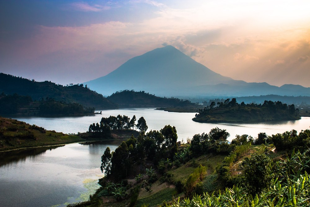 Lake Kayumbu with Mt Muhavura in the background; photo by Stefano Barazzetta
