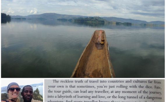 """Cassie at Lake Bunyonyi and Gregory David Roberts's """"The Mountain Shadow""""; photo by Cassie R. Collins"""