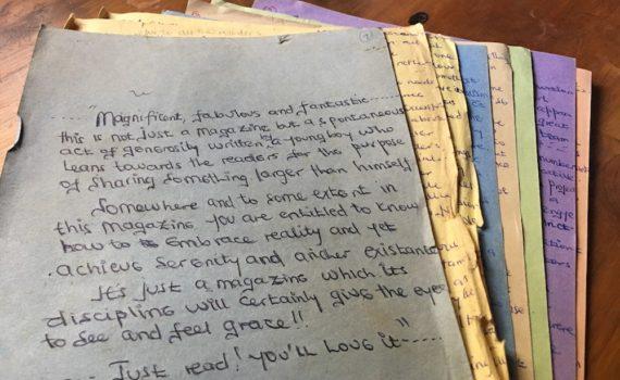 Noah Liberi's manuscript from 2007; photo by Miha Logar
