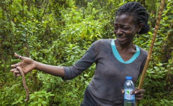 Patricia Kahill during a previous Gorilla Highlands team event in Mgahinga; photo by Marcus Westberg
