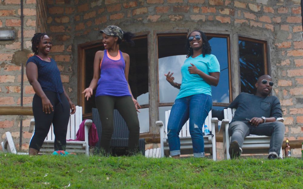 Dancing in celebration at Arcadia Cottages; photo by Enock Luyonza