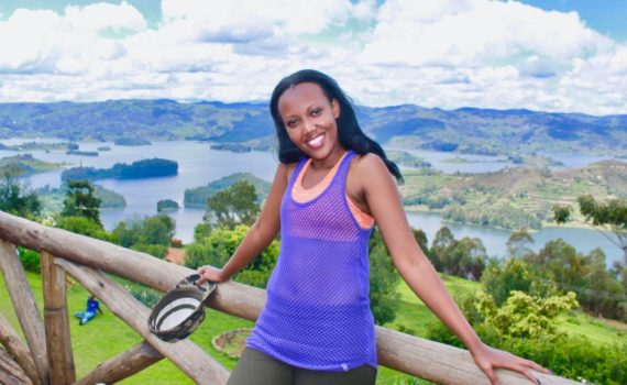 Isabelle Lydia Masozera at Lake Bunyonyi; photo by Enock Luyonza