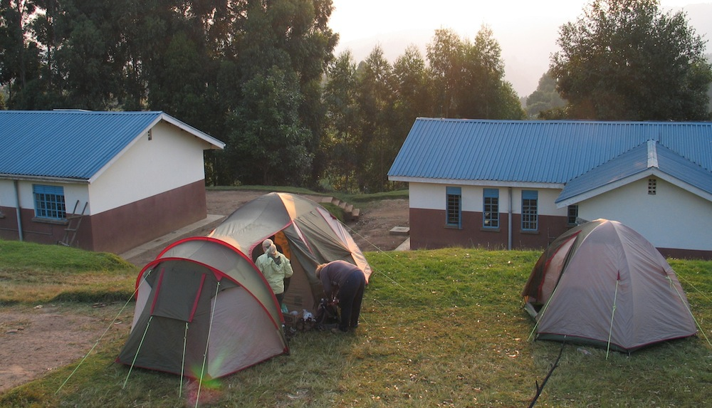 Camping at Kateretere Health Centre; photo by Dejan Praper