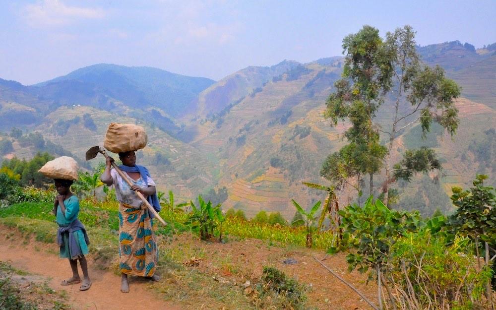 Hardworking ladies and the valley; photo by Dejan Praper