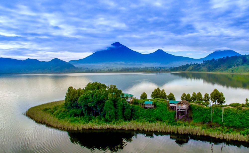 Lake Mutanda from a drone; photo by Josh Hamby